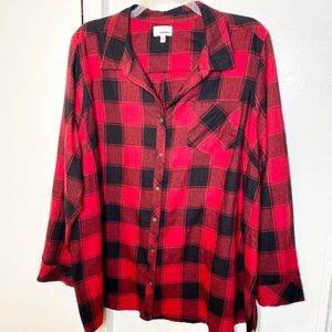 Sonoma Red Blk Buffalo Check Plaid Flannel top 3X